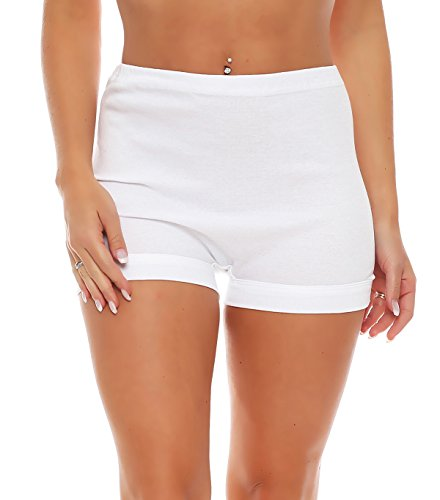 3er Pack Damen Taillen-Pagen-Slips (Schlüpfer, Slip, Unterhose) Nr. 406 Weiß