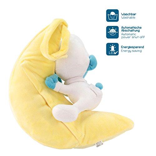 ANSMANN LED-Mondnachtlicht Schlumpf / Niedliche Einschlafhilfe zum Kuscheln mit Schlummerliedfunktion & sanftem Licht für ruhigen Tiefschlaf / Kuschelweiches 2-in-1 Plüschtier für Babys & Kleinkinder - 3