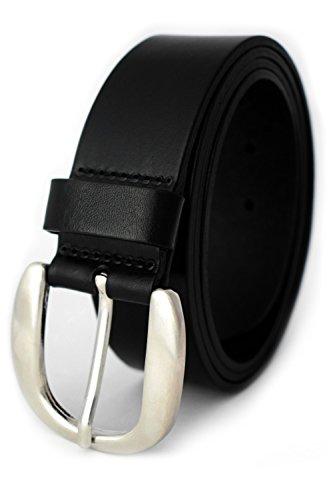 Damengürtel - Ledergürtel für Damen aus weichem Leder - 4 cm breit - PREMIUM Qualität - Damengürtel *Made in Germany, Größe 125 cm Bundweite = 140 cm Gesamtlänge, Farbe Black - Schwarz