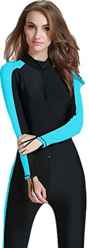YEESAM Modest Swimwear - Taucheranzug Damen Herren Mädchen UV Schutzkleidung Sunsuit Ganzkörperansicht Badeanzug Overall Watersport (Int'l - M, blau)
