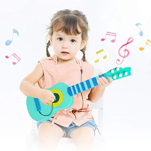 WEY&FLY Kinder Spielzeug Gitarre, 6 Saiten erste Echtes Musikinstrument, Pädagogisches Lernspielzeug für Anfänger Mädchen Jungen Geburtstag Weihnachten, fördert Musikfähigkeit (Blau) (Für E-gitarren Kinder)