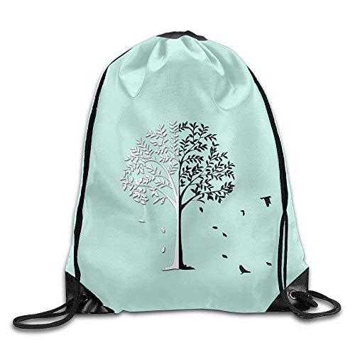 HiExotic Eco-Friendly Turnbeutel Hipster Casual Drawstring Backpack Tote Sack Bag Bag Men Women Sports Gym Sack Sackpack Yoga Dance Travel Daypack (Black & White Tree Bird Teal) (Nike Rucksack Teal)