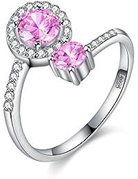 4d1855b4d8c Balansoho solitario in argento Sterling 925 anelli donne matrimonio anelli  di fidanzamento con rosa e bianco
