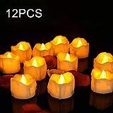 LED Kerzen Flammenlose Teelichter, Parti 12 Stück LED Tee Lichter Flackernd Tealights, Elektrische Kerze Lichter Batterie Dekoration für Weihnachten, Valentinstag, Ostern, Hochzeit, Party Warmweiß