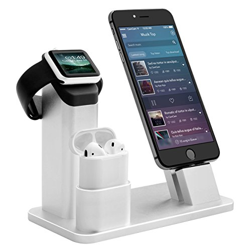Bicolor Stand per Apple Watch, Aluminum 4 in 1 per Apple iWatch Dock Ricarica del Supporto Airpods per Apple Watch 3/2/1/x Airpods/iPhone/8/8Plus/7 Plus/6s/6s Plus/iPad, Argento