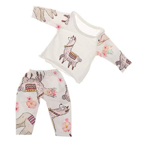 P Prettyia Netter Zweiteiliger Langarm Schlafanzug Pyjama Nachthemd Set für 18 Zoll Amerikanisches Mädchen Puppen - F (Und Nachthemd Puppe Mädchen)