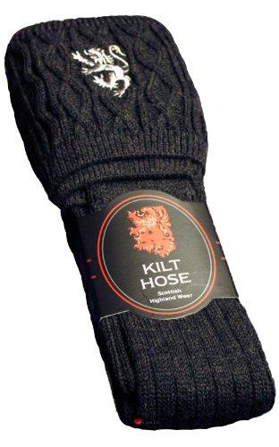Kilt Hose Symbol Embroided Socks Highland Kiltwear Anthracite