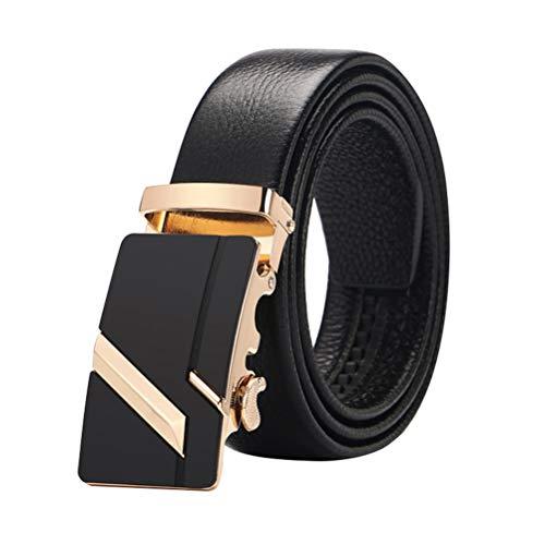 TENDYCOCO Mens Black Leather Belt mit automatischer Schnalle Casual Business Belt für Vater Geschenk