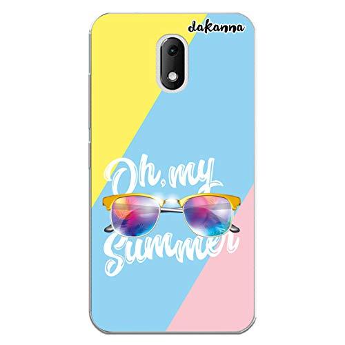 dakanna Kompatibel mit [Wiko Sunny 3 Mini] Flexible Silikon-Handy-Hülle [Transparent] Sommer Sonnenbrillen Design, TPU Case Cover Schutzhülle für Dein Smartphone
