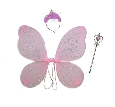 ONE4ALL Achetez® Filles Grande rose paillettes Ailes de fée (modèles