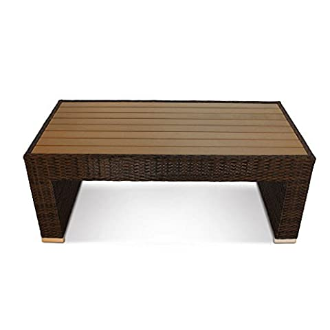 Denby Luxury Rattan Outdoor Coffee Table with Plaswood Table Top - Rectangular Patio Table