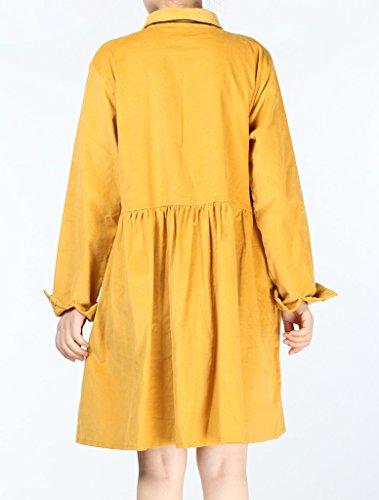 MatchLife Femme Velours Côtelé Taille Haute en Robe Style2-Jaune