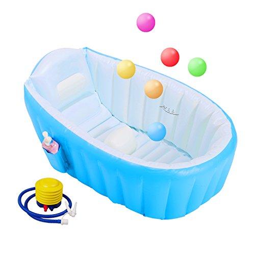 biubee Baby aufblasbare Badewanne & 6Stück Colorful Ocean balls-non Slip mit weichem Kissen Central Baden Tubs klappbar und tragbar Swimmingpool für Reisen (blau)