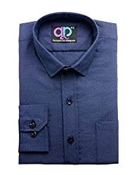 39c6dee42b6 Formals by Koolpals-Cotton Blend DARK BLUE SELF DESIGN PLAIN SHIRT.