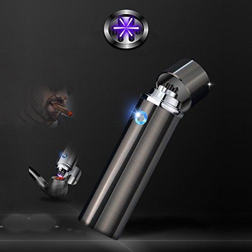 Accendisigari cilindrico con tecnologia a triplo arco elettrico, senza fiamma, a prova di vento, ricaricabile tramite USB, un accendino con bobina al plasma ideale come regalo di compleanno o di Natale per uomini, Nero
