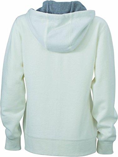 James & Nicholson Damen Lifestyle Zip-Hoody Sweatshirt Weiß (Off-White/Grey-Heather)