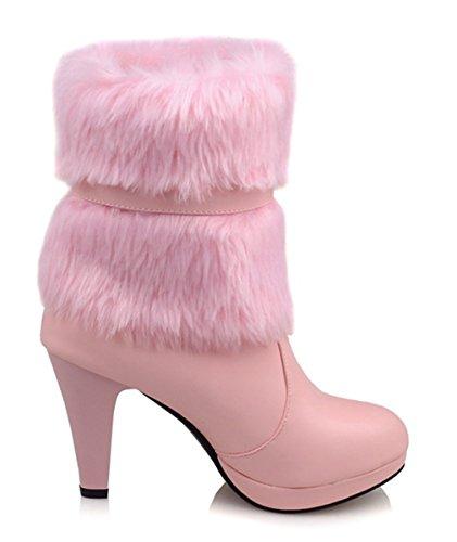 YE Damen Warm Gefüttert High Heels Ankle Boots Blockabsatz Plateau Stiefeletten mit Schleife und Fell 9cm Absatz Winterstiefel Rosa