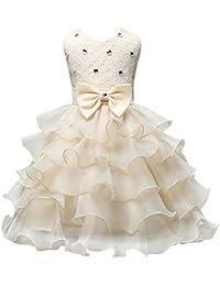 Happy Cherry - Vestido Formal de Princesa para Niñas de 3-9 Años Traje Ceremonia de Organza Tutú sin Mangas con Lentejuelas y Lazo para Boda Bautizo Fiestas