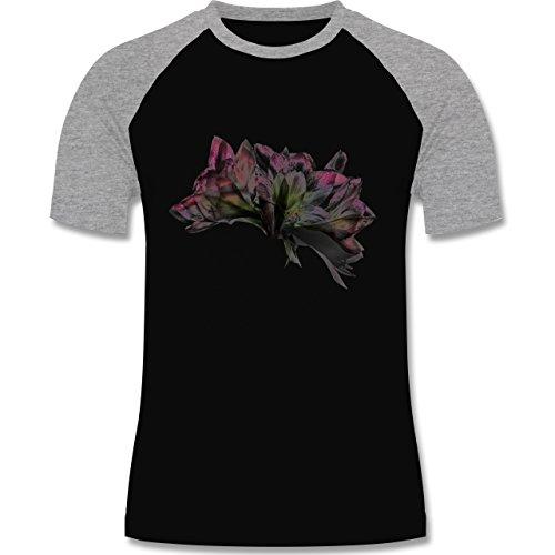 Blumen & Pflanzen - Orchidee Timelapse - zweifarbiges Baseballshirt für Männer Schwarz/Grau Meliert