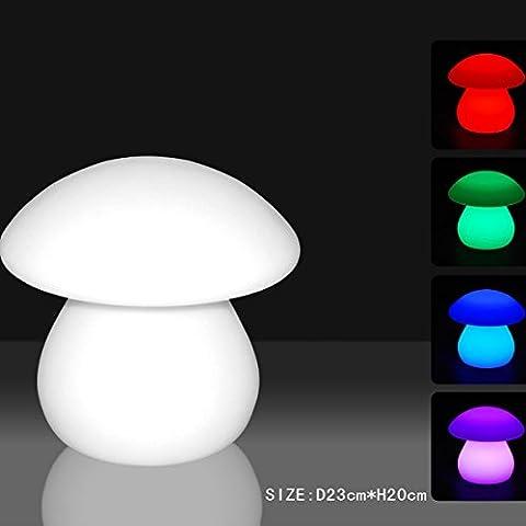 MERVY - Lampe Champignon avec led multicolore 25cm sans fil et rechargeable + télécommande 16 couleurs