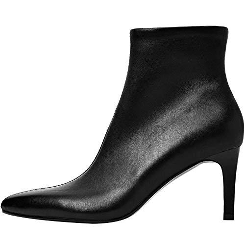 Damen Leder Booties,Schwarze Herbst Und Winter Stiefel Damen Stiletto High Heel Schaffell Stretch Stiefel In Europa Und In Den Vereinigten Staaten Hingewiesen Blanken Stiefel @ 39 -