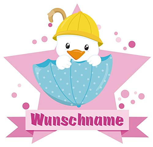 (Samunshi® Küken im Regenschirm Aufkleber mit Namen Autoaufkleber Namensaufkleber Kinder in 7 Größen (10x8,8cm Mehrfarbig))
