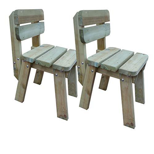 Platan Room Gartenmöbel aus Kiefernholz 120 cm / 150 cm / 180 cm breit Gartenbank Gartentisch Kiefer Holz massiv Imprägniert (Stühle x 2, 50 cm)