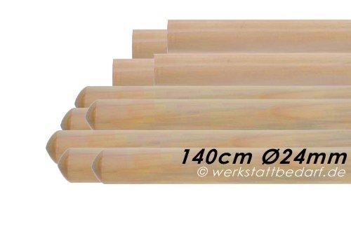 10x Besenstiele aus Kiefernholz 140cm Ø24mm, ohne Konus