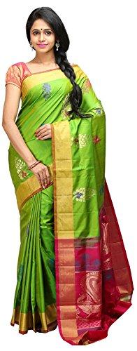Lakshmi Venkateswara Silks Women's Soft Silk Saree with Blouse Piece (Parrot Green)