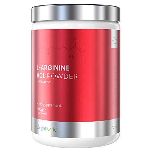 L-Arginina Polvere 500g - Integratore di Arginina Con Ossido Nitrico per Palestra - Massa e Crescita Muscolare, Flusso Sanguino e Vasodilatatore per Muscoli - Proteine in Polvere Vegane - WeightWorld