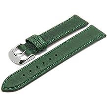 Meyhofer Uhrenarmband Brunn EASY-CLICK 20mm grün Leder grob genarbt abgenäht Made in Germany My2fcml2014