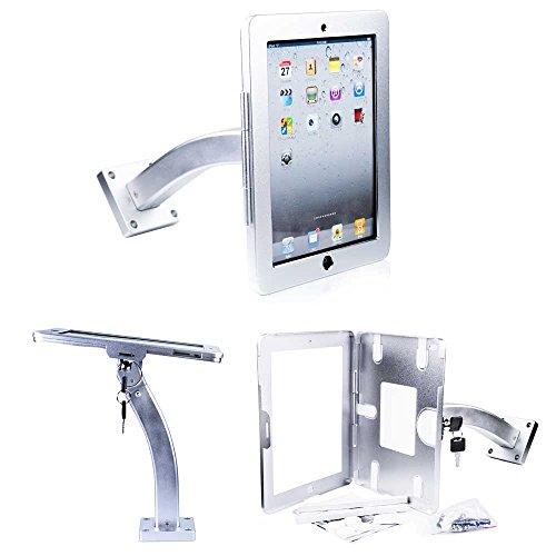 Abschließbare Wandhalterung (Abschließbare Restaurant Wandhalterung & Tischhalterung aus Metall- Halterung für Apple iPad 1, iPad 2, iPad 3, iPad 4, iPad Air, iPad 2017 9.7