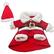 Toyvian Disfraz Navidad Perro Pequeño Disfraz Papa Noel Perro con Sombrero Navidad Ropa Traje Invierno Cálido