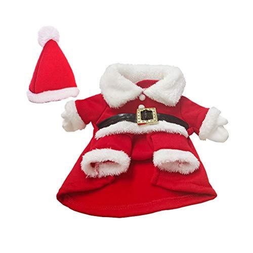 Toyvian Pet Weihnachtskostüme mit Hut Hund Santa Kostüm Xmas Kostüm Outfit Anzug Winter warme Kleidung für Welpen Hund Katze (rot weiß) Größe S (Hund Großer Xmas Outfits)