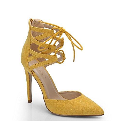 Ideal Shoes–Scarpe col tacco, a lacci, effetto camoscio, mod. Palma Giallo