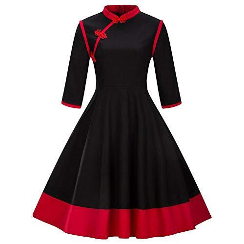 Retro Kleid der Frauen großes Pendel-Spleiß mit Sieben Viertelhülse verwendbar für Cosplay-Parteien oder tägliche beiläufige ()