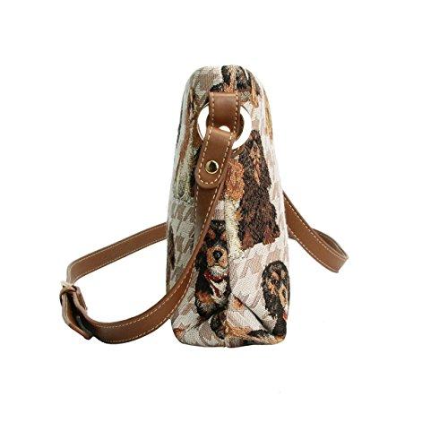 Borsetta donna Signare alla moda in tessuto stile arazzo a spalla borsa messenger a tracolla floreale Cavalier King Charles Spaniel