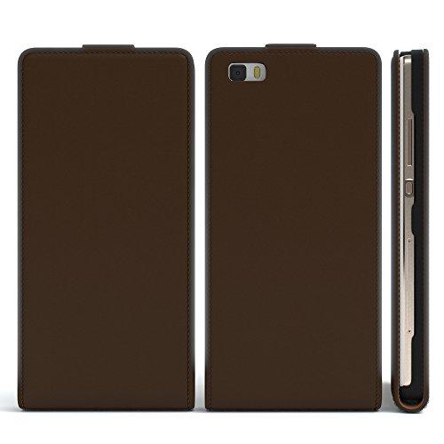 Huawei P8 Lite (2015) Hülle - EAZY CASE Premium Flip Case Handyhülle - Schutzhülle in Braun Braun (Flip)