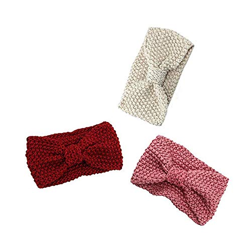 3PCs Damen Gestrickt Stirnband Häkelarbeit Schleife Design Winter Fashion Kopfband Haarband, Mehrere Farben.