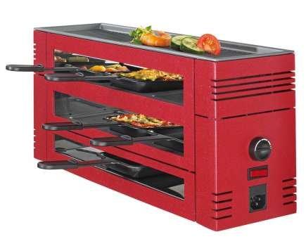 Spring 3367710003–Pizza-Raclette mit 6Pfännchen und Grilloberfläche aus Aluminium Rot (H. Nr.)
