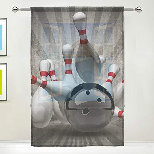 ang Vorhang Vintage Sport Bowling Ball für Tür Fenster Schlafzimmer Bad Küche Wohnzimmer 139,7 x 198 cm 1 Panel, Polyester, Multi, 55
