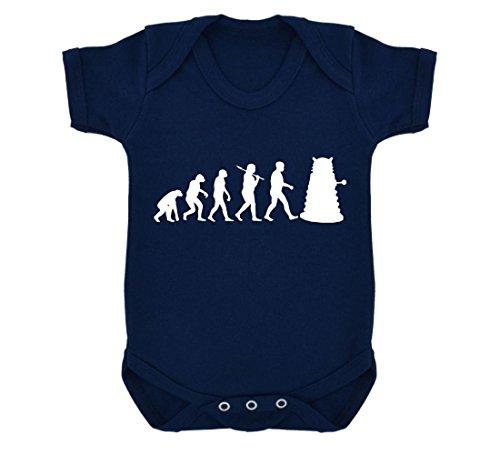 Evolution of a Cyborg Mutant Design Baby Body Marineblau mit weißen Print Gr. 6-12 Monate, marineblau
