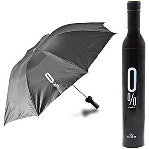 Creativo Tre Pieghevole Forma della Vino Bottiglia Ombrello (Nero)