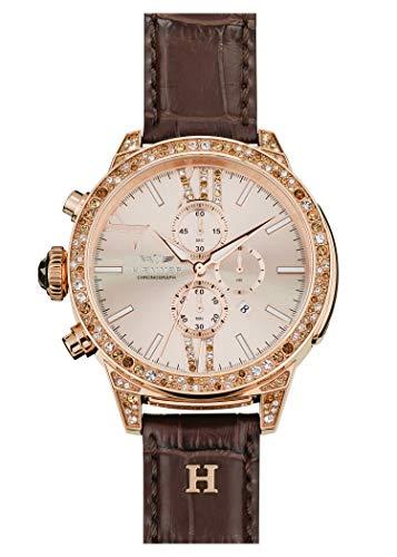 HÆMMER Wonder Damenuhr aus Edelstahl | Exklusiv Limitierte Damen-Uhr mit Kalbsleder Armband | Luxus-Uhr mit braunen Swarovski-Kristallen