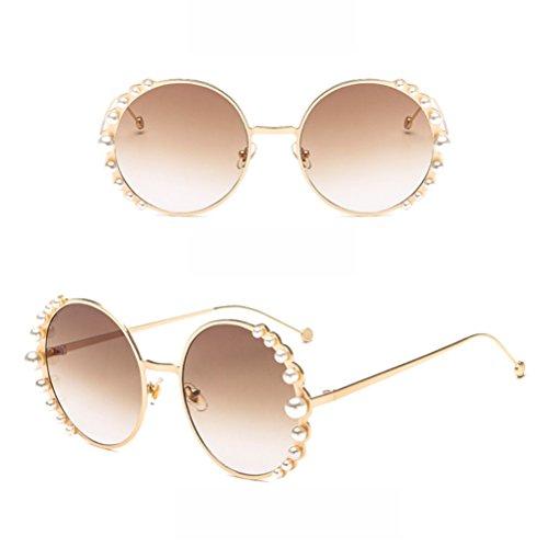 Damen Sonnenbrille Metall Runde Rahmen Perle Verschönert Sonnenbrille Retro Pop Gläser,5