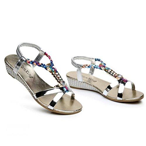 Sandálias rhinestone Omiky® sapatos Verão Prata Confortável Praia As Mulheres Para Moda Casual Mulheres qB1f14