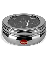 Sumeet Stainless Steel Belly Shape Spice Box with See Through Lid with 7 Containers and Small Spoon (Size No. 10 )(17.1cm Dia) (1.1 Ltr Capacity)