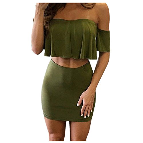 BYSTE Donna sexy senza spalline balze Estate Tops + Mini abito gonne Imbottire le gonne dell'anca Verde