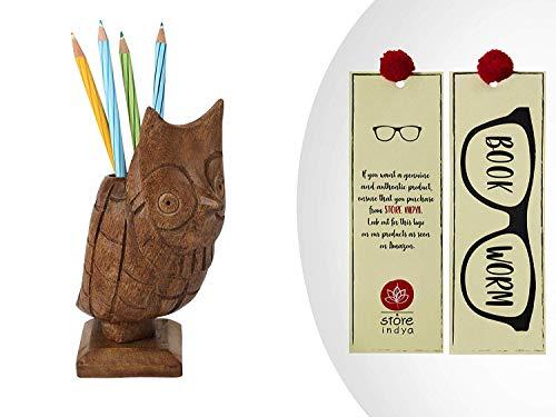 storeindya Handgeschnitzter Brillenhalter aus Holz, Spectacle Holder Eule Brillenständer mit Multi Utility Storage für Stift Halter, Karten und Display-Zubehör Geschenke für Tierliebhaber