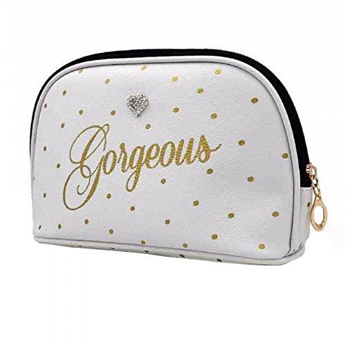 Gainsborough Gifts Neceser para maquillaje con estampado de lunares modelo Gorgeous (Talla Única/Blanco)